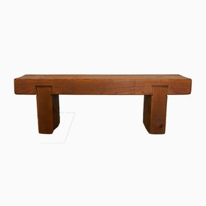 French Wooden Bench, 1960s