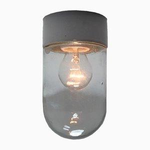 Lámpara de techo de vidrio burbuja y porcelana, años 60