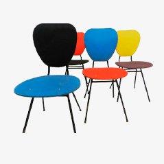 Mehrfarbige Französische Kunststoff Stühle, 1950er, 4er Set
