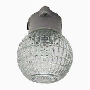 Lámpara de techo de vidrio estructurado y porcelana, años 60