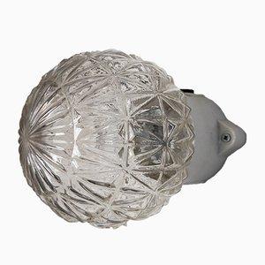Deckenlampe aus Strukturglas & Porzellan, 1960er