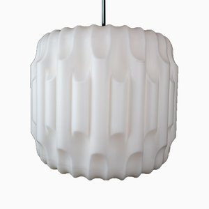 Large French Brutalist Opaline Glass Pendant Lamp, 1960s