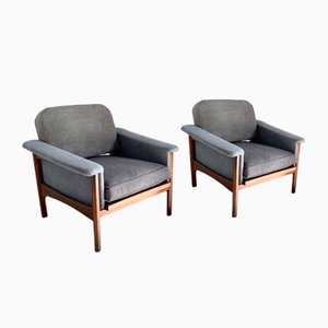 Italian Gray Lounge Chairs by Minotti Renzo for Minotti, 1960s, Set of 2
