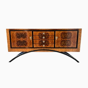 Art Deco Italian Walnut Briar Sideboard, 1930s