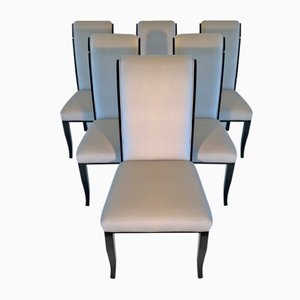 Art Deco Italian Black and Ivory Velvet Dining Chairs, 1980s, Set of 6