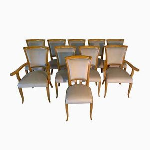 Art Deco Italian Dining Chairs, 1980s, Set of 10