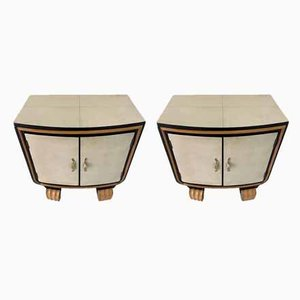 Art Deco Italian Parchment Nightstands, 1940s, Set of 2
