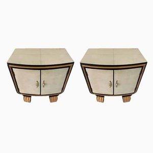 Art Deco Italian Parchment Nightstands, 1940s, Set of 2