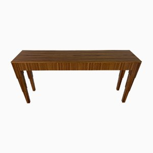 Art Deco Italian Zebro Wood Console Table, 1980s