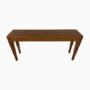 Art Deco Italian Zebro Wood Console Table, 1980s