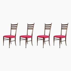 Chaises de Salle à Manger en Bois et en Tissu Magenta par Paolo Buffa, années 50, Set de 4