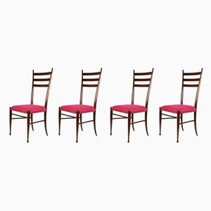 Wood and Magenta Fabric Dining Chairs by Paolo Buffa, 1950s, Set of 4