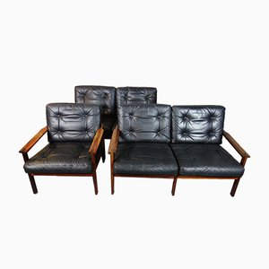 Mid-Century Rosewood Sofas and Lounge Chair Set Set by Illum Wikkelsø for Niels Eilersen, 1960s