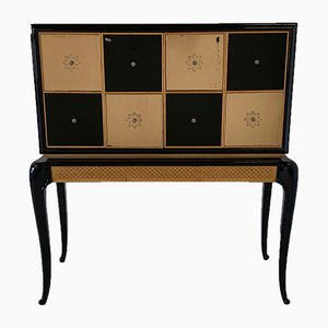 Art Deco Italian Maple and Mirror Bar Cabinet, 1940s