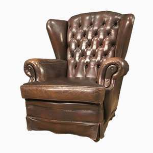 English Brown Leather Armchair, 1970s