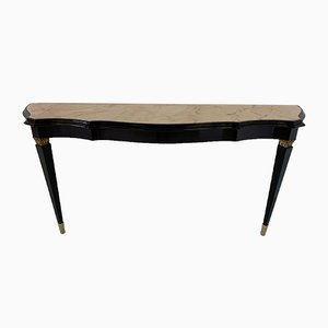 Italian Black and Marble Console Table, 1940s