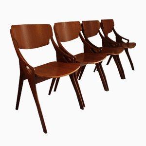 Sedie da pranzo Mid-Century di Arne Hovmand-Olsen per Mogens Kold, anni '60, set di 4