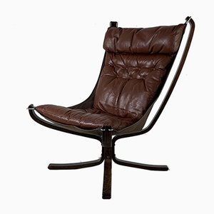 Vintage Dark Brown Falcon Chair by Sigurd Ressell, 1960s