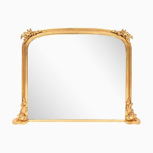 Antique Gilded Overmantle Mirror, 1840s