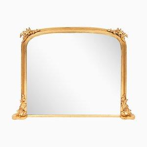 Espejo de repisa antiguo dorado, década de 1840