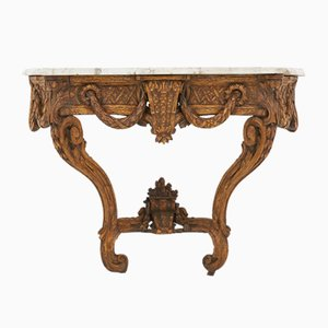 Table Console 18e Siècle en Noyer Sculpté, France