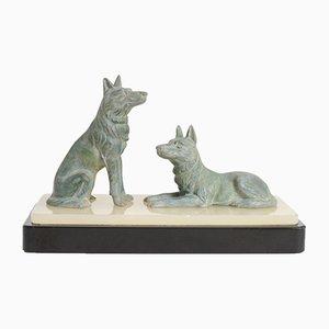 Art Déco Hundeskulptur von Louis Riché, 1930er