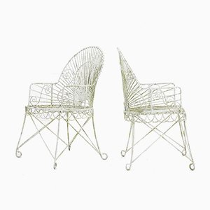 French Iron and Wire Armchairs, 1920s, Set of 2