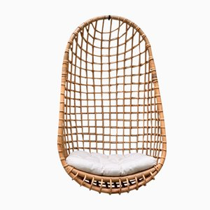 Silla colgante vintage de bambú
