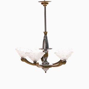 Lámpara de araña Art Déco de latón plateado de Ezan, años 30