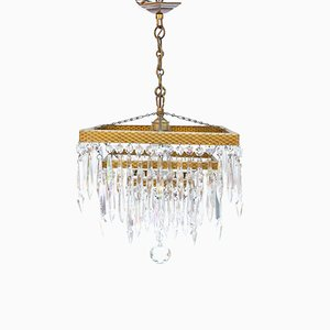 Art Deco Gilded Crystal Chandelier, 1930s