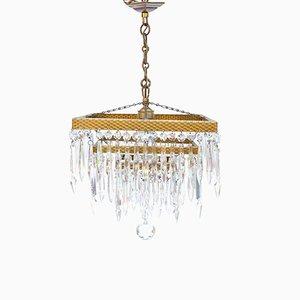 Lámpara de araña Art Déco de cristal dorado, años 30