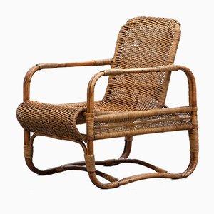 Brown Rattan Lounge Chair by Erich Dieckmann for F. Kerber, 1930s