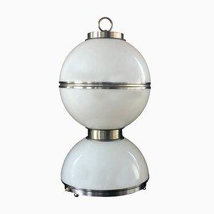 Große Space Age Tischlampe aus Opalglas & versilbertem Metall von Carlo Nason, Mazzega, 1970er