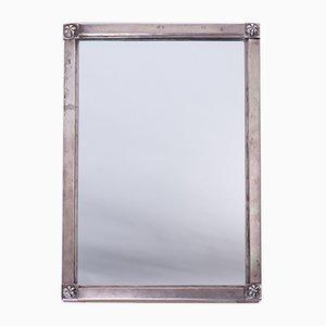 Antiker silberner Biedermeier Spiegel, 1820er