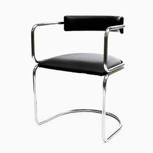 Bauhaus Chromed Metal and Leather Tubular Armchair, 1960s