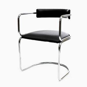 Poltrona Bauhaus in metallo cromato e pelle, anni '60