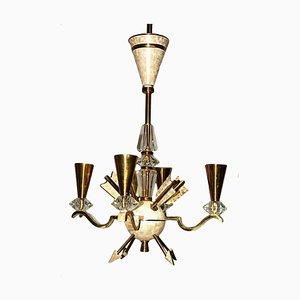 Lámpara de araña vintage de bronce y cristal de DLG Gilbert Poillerat, años 40