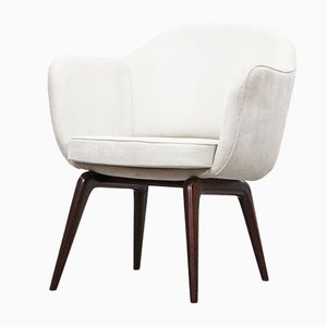 White Velor Leather Armchairs by Jorge Zalszupin for L`Atelier, 1960s, Set of 2