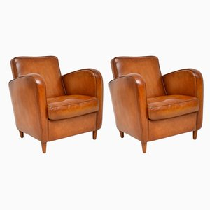 Swedish Leather Armchairs, 1950s, Set of 2