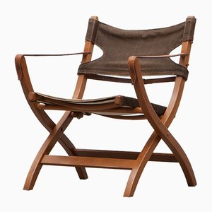 Wood and Linen Folding Safari Chair by Poul Hundevad for Vamdrup, 1956