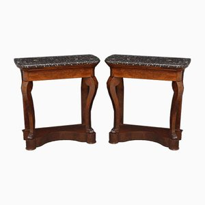 Antique William IV Mahogany Console Tables, Set of 2