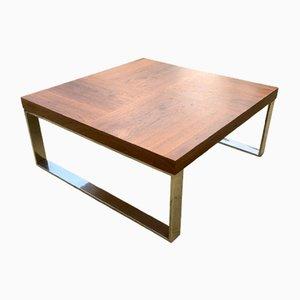 Tavolino da caffè quadrato in teak e metallo cromato, anni '90