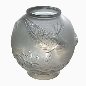 Grand Vase Art Déco en Verre par Pierre Davesn pour Daum, années 30