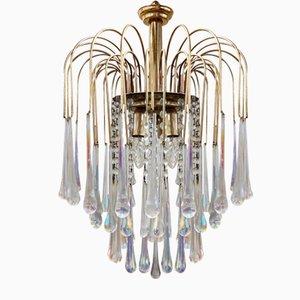 Vintage Brass Murano Glass Chandelier, 1970s
