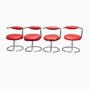 Vintage Cobra Esszimmerstühle von Giotto Stoppino, 1970er, 4er Set