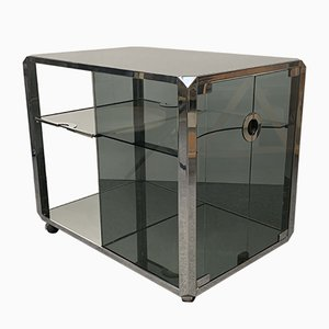 Mid-Century Italian Chrome and Glass Trolley by Willy Rizzo for Mario Sabot, 1970s