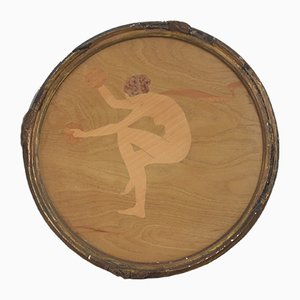 Marquetry Panel Dancer With Cymbals by William Arthur Chase for The Rowley Gallery, 1920s