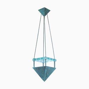 Lampada da soffitto in bronzo e vetro di Murano di Vistosi, 1987