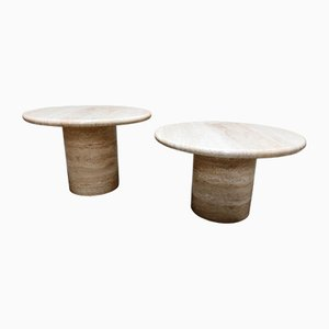 VIntage Round Travertine Side Tables by Up & Up, 1970s, Set of 2