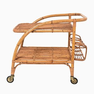 Italian Bamboo Trolley with Bottle Holder, 1950s